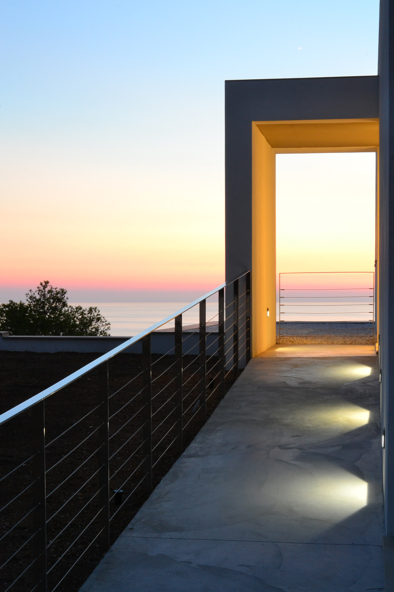 Detail view of the entrance of the Maioris house overlooking the sea