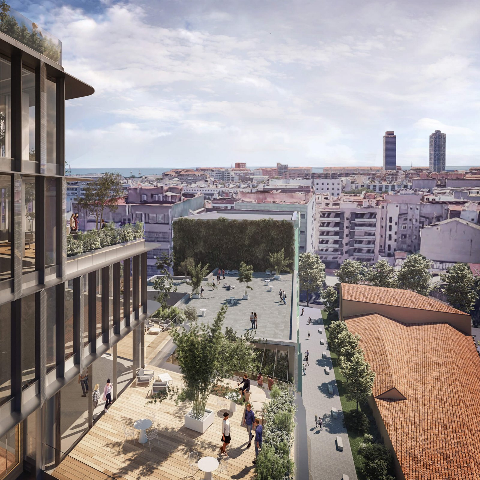 Top view of the terrace, gardens and streets of the Almogàvers 100 building
