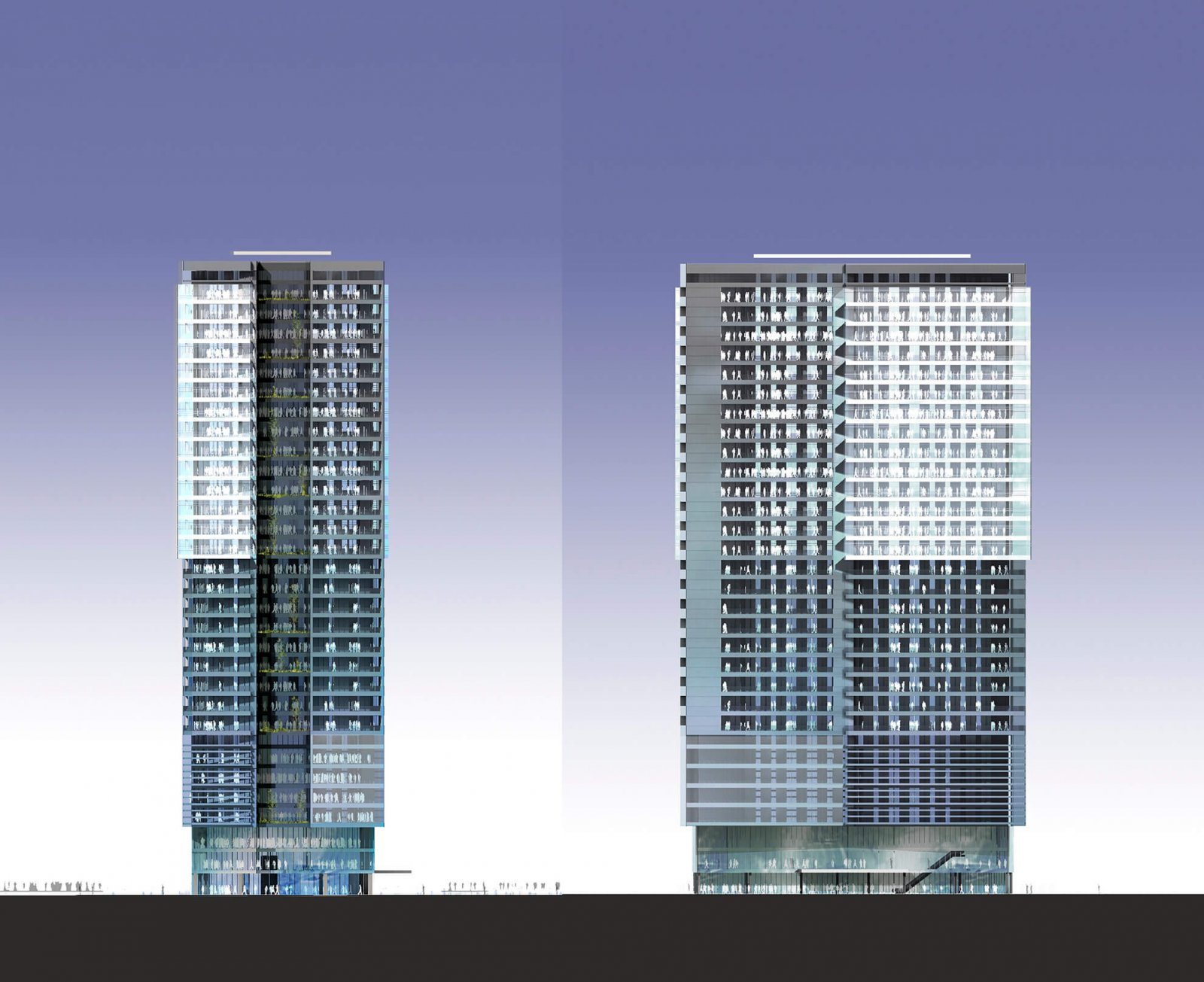 Front and side design of the tower facade