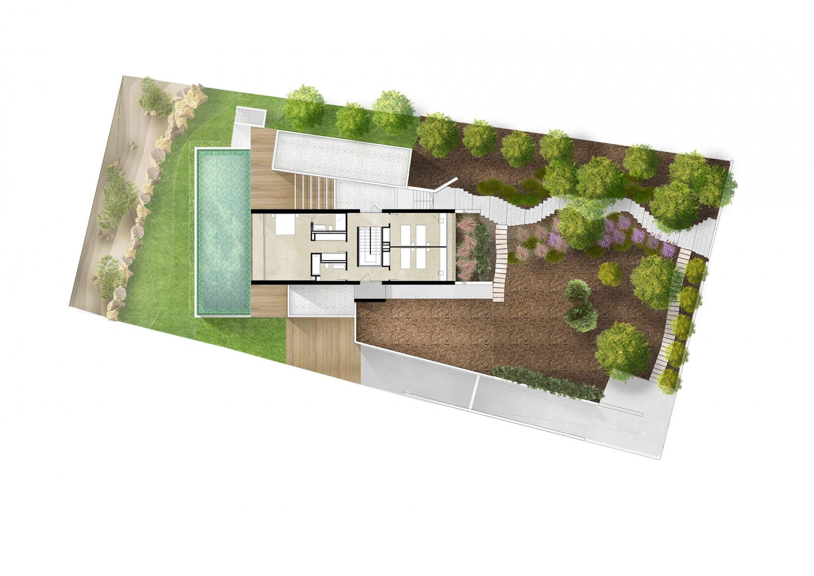 Aerial design of the Maioris house and land
