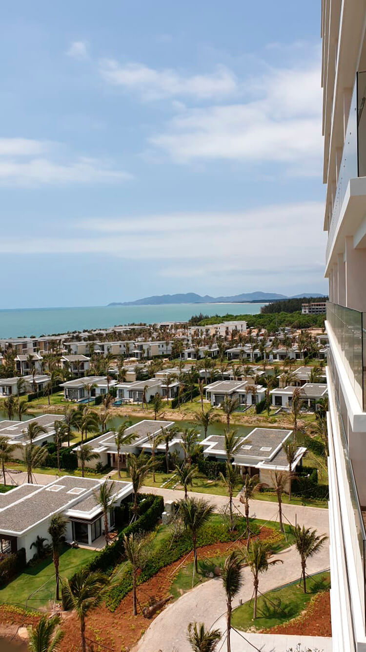 Top view of the Melia Ho Tram villas with the sea in the background