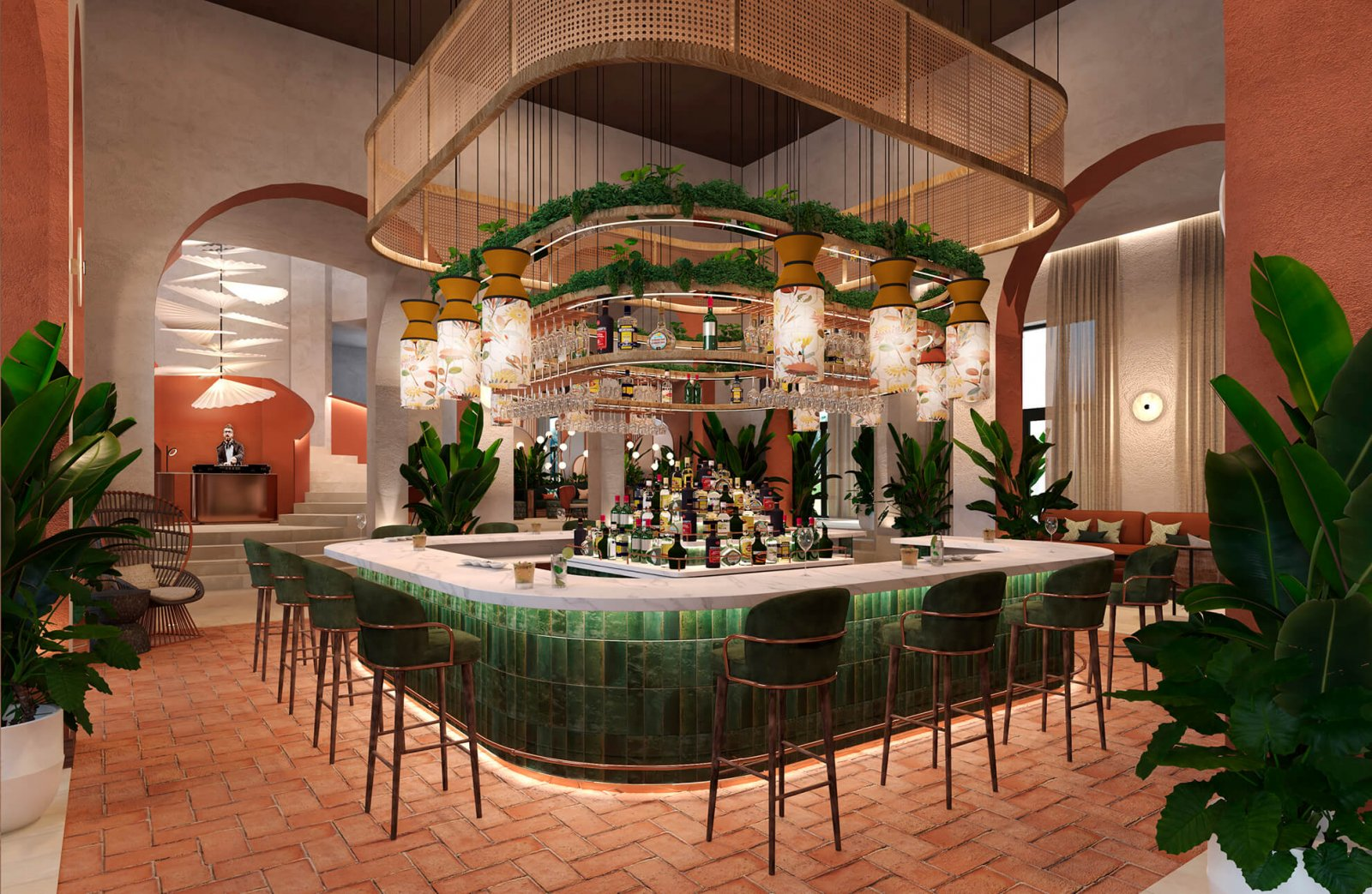Another view of the common areas with plants and some liqueur of the Sotogrande