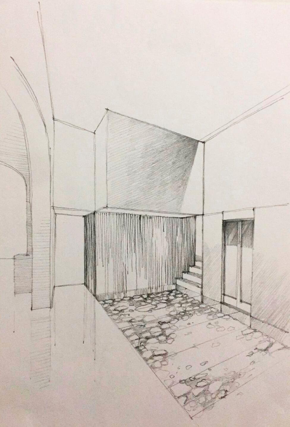 illustration of the hall of Sant Francest Hotel Boutique