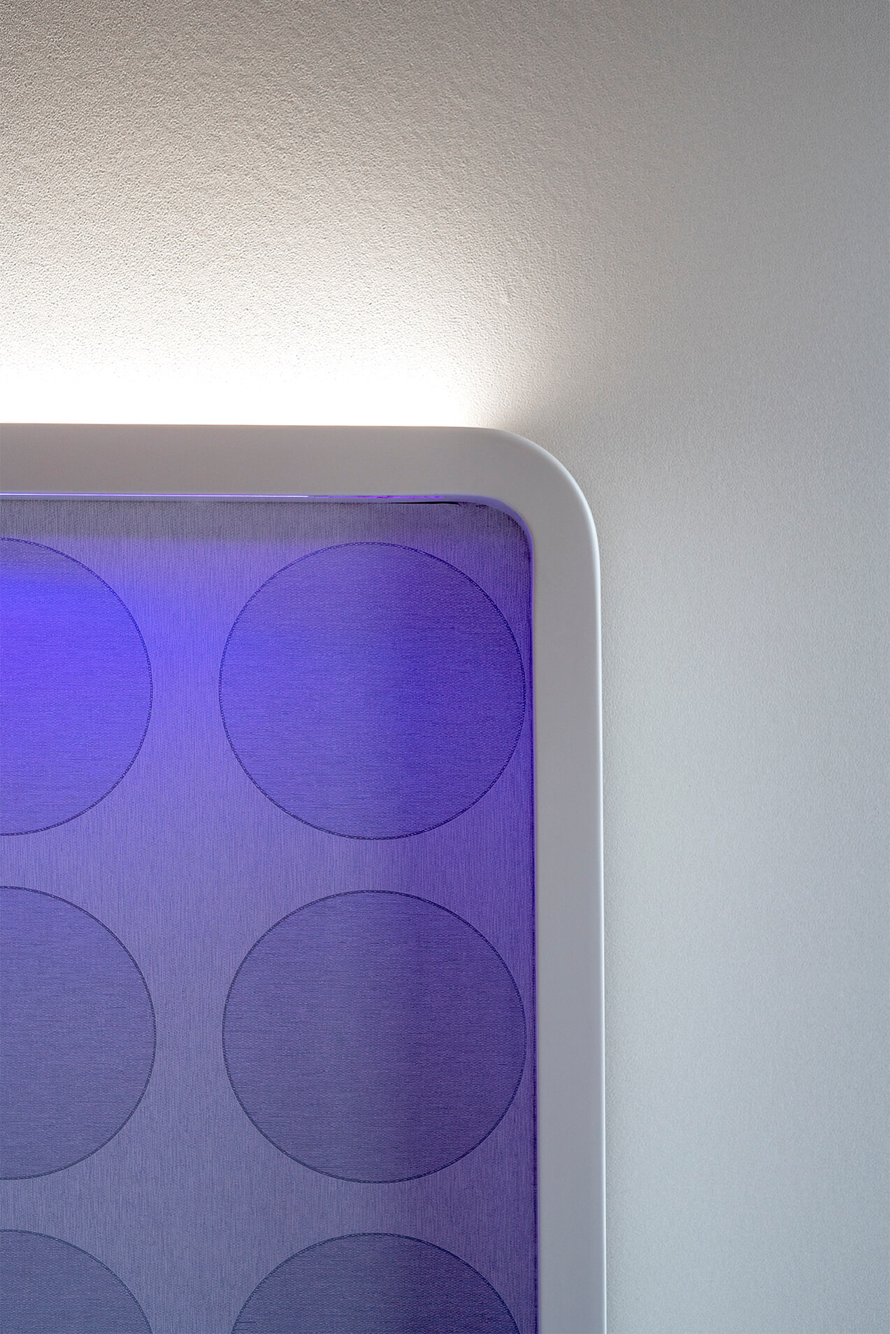 View of a lilac lights' headboard of the hotel raval