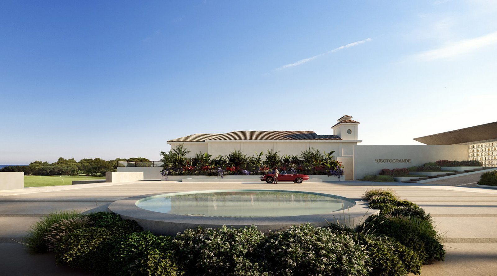 View of the pool and facade of the Sotogrande