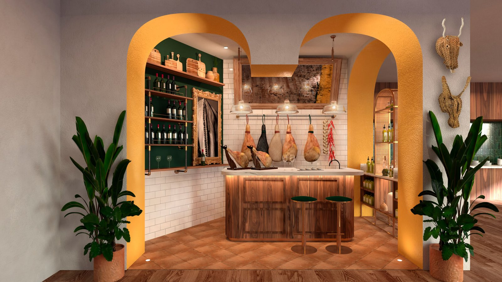 Another view of the common areas with wine and Serrano ham of the Sotogrande