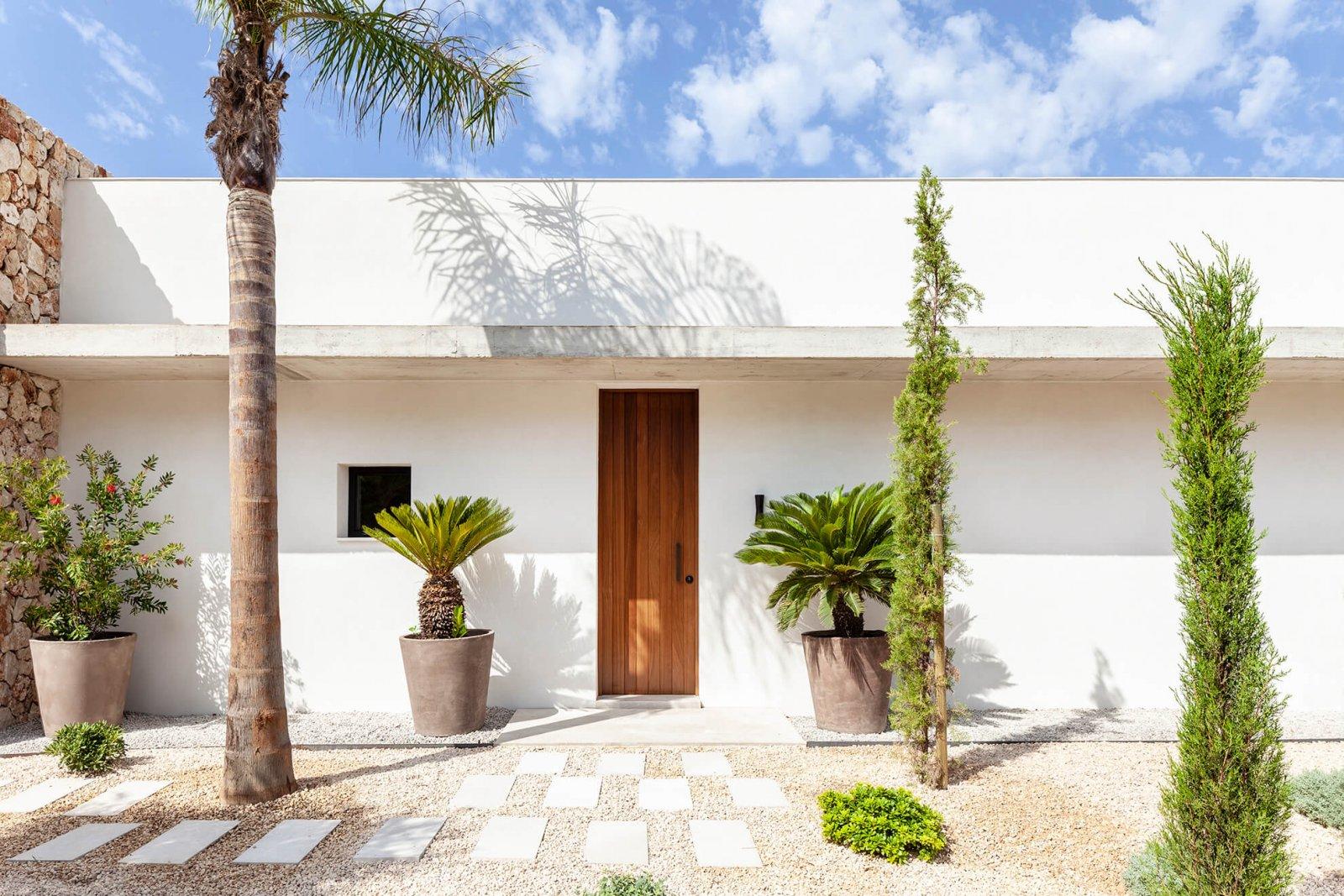Facade of the inner garden with wooden door and palm trees of the Sol de Mallorca house