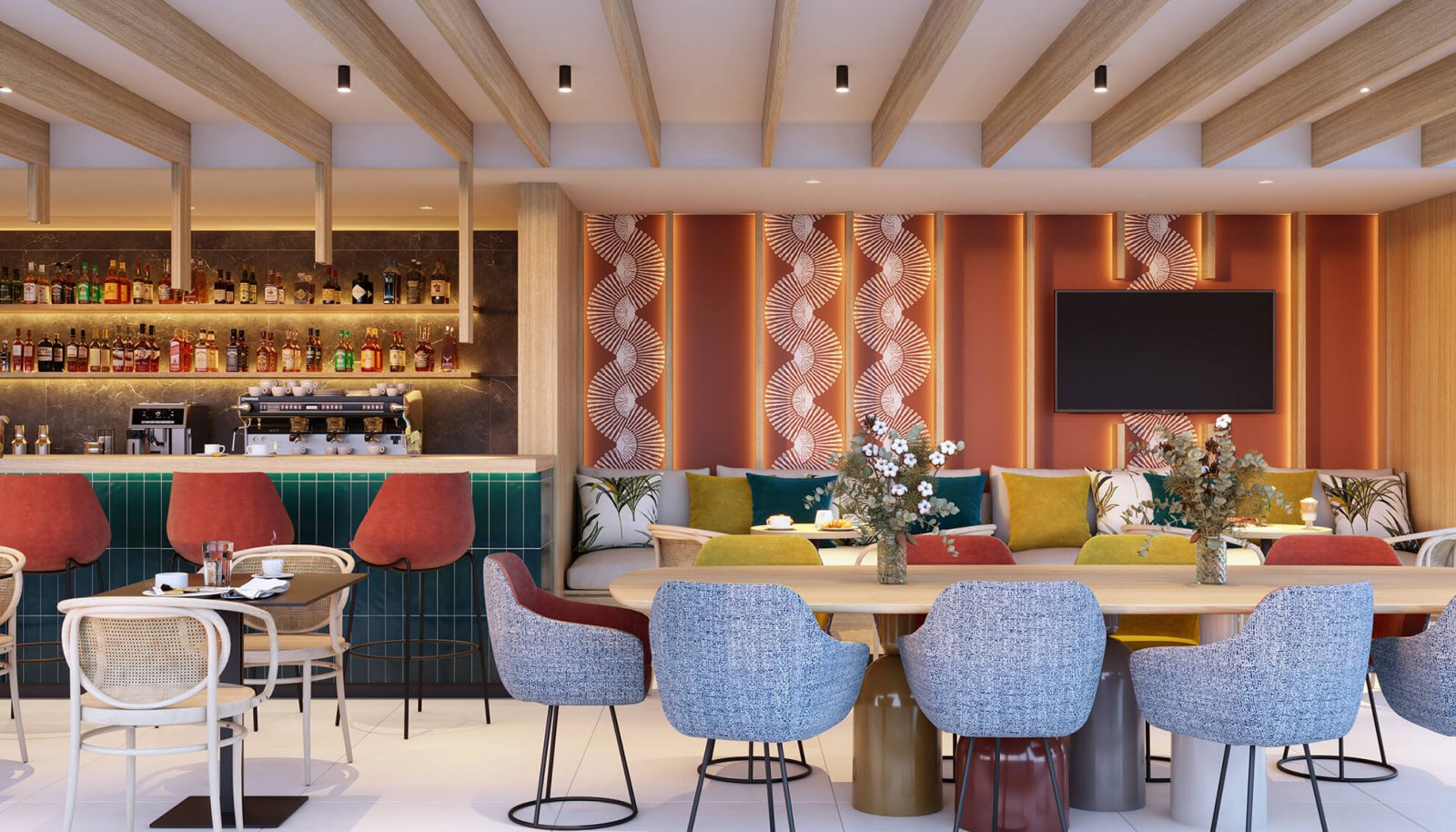 Another view of the pub with sofa and tables of the Sotogrande