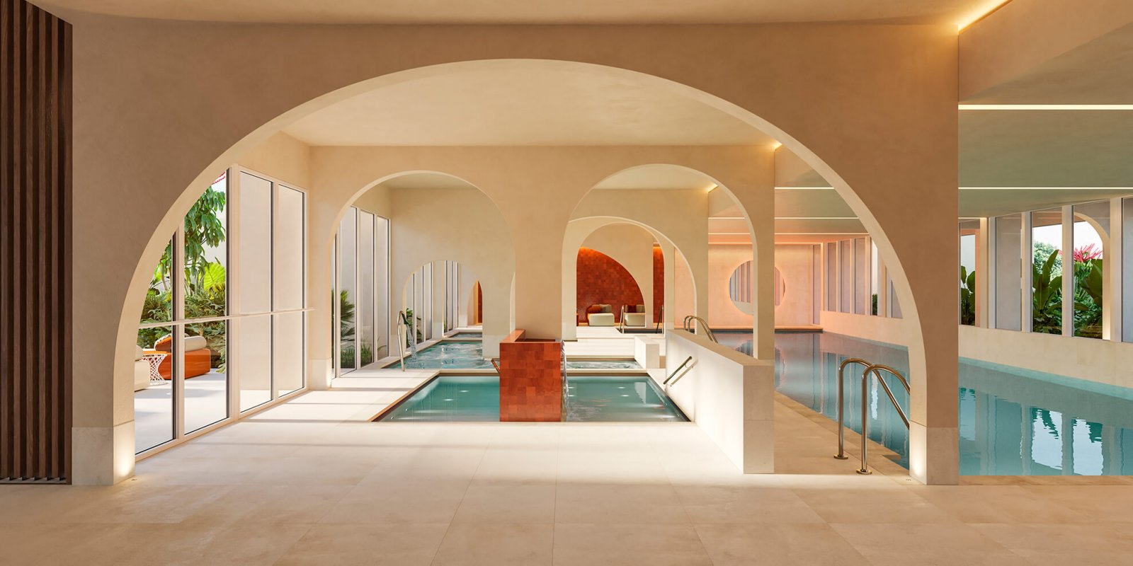 View of the pool and interior facade of the Sotogrande